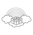 giftbox on clouds in black and white vector image vector image