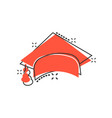 graduation cap icon in comic style education hat vector image vector image