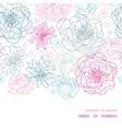 gray and pink lineart florals horizontal vector image vector image