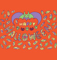 greeting card for halloween with bat skulls cats vector image