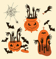 halloween zombie hands trick or treat objects vector image vector image