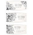 hand drawn background fast food elements vector image vector image