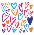 hand drawn colorful hearts grunge inked vector image vector image