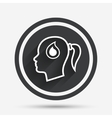 Head with drop sign icon Female woman head vector image vector image