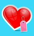 Heart Symbol with Empty Label on Blue Background vector image vector image