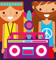 hippie man and woman flower and radio retro free vector image vector image