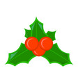 holly xmas isolated icon cartoon style for vector image vector image