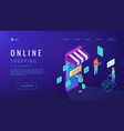 isometric online shopping landing page vector image