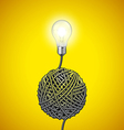 Light bulb and tangled wire on yellow background vector image vector image