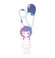 line girl with hairstyle and balloons in the hand vector image