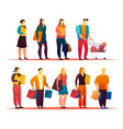 mall with people standing in line or queue vector image