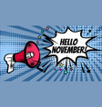 megaphone pop hello november vector image vector image