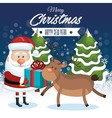 merry christmas and happy new year santa reindeer vector image vector image