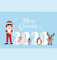merry christmas greeting card with rats penguins vector image vector image