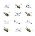 military air force isometric icon set vector image vector image