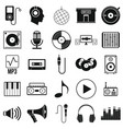 music set icons in silhouette style vector image vector image