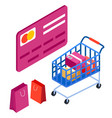 online shopping contactless payment with credit vector image