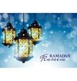 Ramadan Lantern or Fanous with Ramadan Kareem vector image