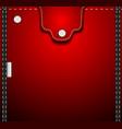 Red denim pocket vector image