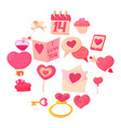 saint valentine icons set cartoon style vector image