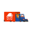 santa post car claus and deer carry mail from vector image vector image