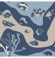 seamless pattern aquarium fish wave vector image