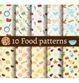set 10 food seamless patterns vector image