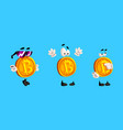 set funny bitcoin characters cryptocurrency in vector image vector image
