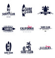 set of surfing logo and emblems for surf club or vector image