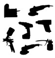 silhouette tools set vector image vector image