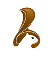 squirrel head with tail and negative space vector image vector image