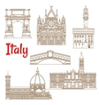 Symbolic landmarks of Italy linear symbols vector image vector image