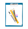 tablet for paper with pencils vector image vector image