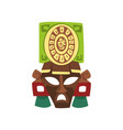 tribal mask maya civilization symbol american vector image