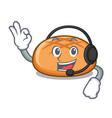 with headphone hamburger bun mascot cartoon vector image