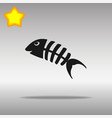 fish bone black icon button logo symbol vector image
