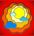 color paper style artwork of summer sun and clouds vector image