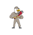 Bald Eagle Plumber Monkey Wrench Cartoon vector image vector image