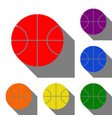 basketball ball sign set of red vector image vector image