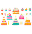 birthday cakes party celebration cupcake with vector image vector image