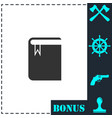 book with bookmark icon flat vector image vector image