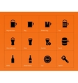 Bottle and glass of beer icons on orange vector image vector image