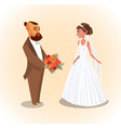bride and groom newlyweds vector image vector image
