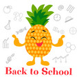 bright background back to school with pineapple vector image vector image