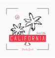 california t shirt design with slogan and hand vector image vector image
