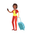 cheerful brunette woman standing with travel vector image vector image