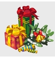 Christmas wreath gifts and candies holiday icon vector image vector image