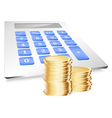 Coins with calculator vector image