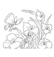 coloring page thumbelina sitting on a flower vector image vector image