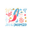 cute mermaid character t-shirt clipart mythical vector image vector image